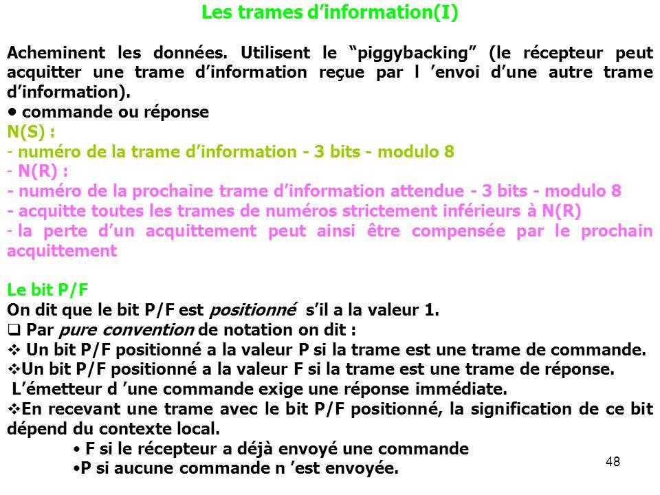 48 Les trames dinformation(I) Acheminent les données. Utilisent le piggybacking (le récepteur peut acquitter une trame dinformation reçue par l envoi