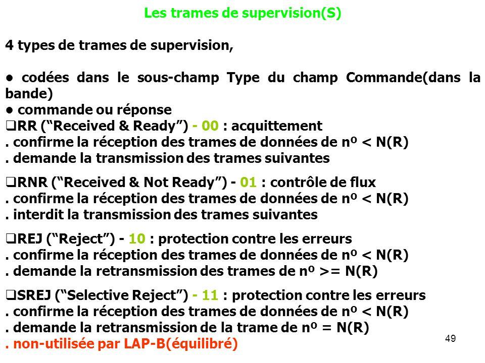 49 Les trames de supervision(S) 4 types de trames de supervision, codées dans le sous-champ Type du champ Commande(dans la bande) commande ou réponse