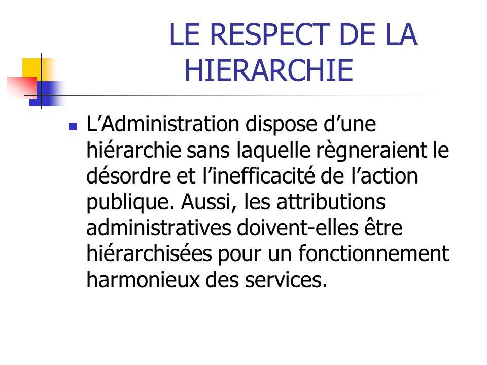 LE RESPECT DE LA HIERARCHIE LAdministration dispose dune hiérarchie sans laquelle règneraient le désordre et linefficacité de laction publique. Aussi,