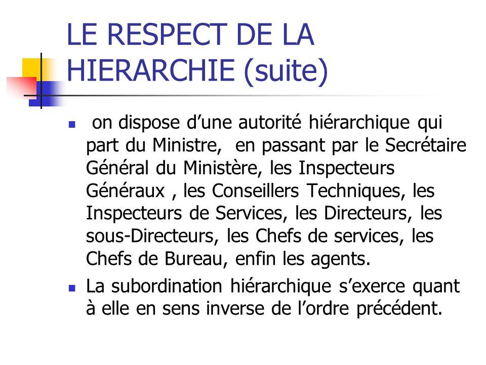 LE RESPECT DE LA HIERARCHIE (suite) on dispose dune autorité hiérarchique qui part du Ministre, en passant par le Secrétaire Général du Ministère, les