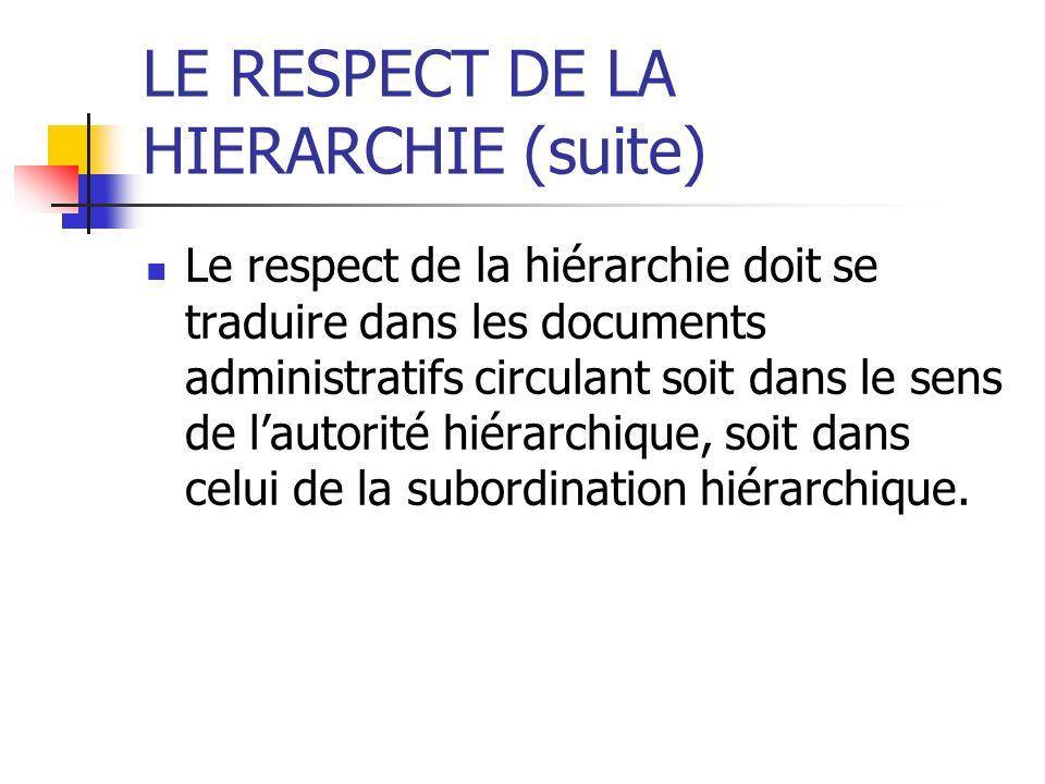LE RESPECT DE LA HIERARCHIE (suite) Le respect de la hiérarchie doit se traduire dans les documents administratifs circulant soit dans le sens de laut