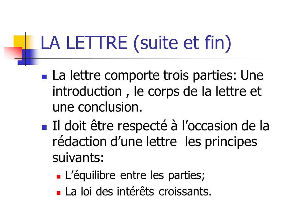 LA LETTRE (suite et fin) La lettre comporte trois parties: Une introduction, le corps de la lettre et une conclusion. Il doit être respecté à loccasio