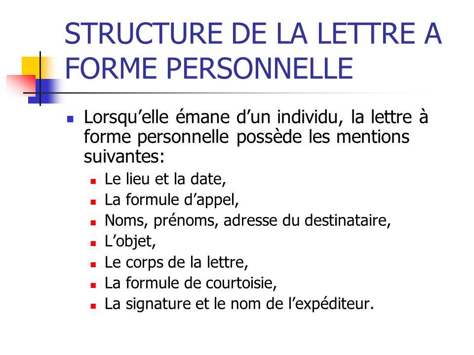 STRUCTURE DE LA LETTRE A FORME PERSONNELLE Lorsquelle émane dun individu, la lettre à forme personnelle possède les mentions suivantes: Le lieu et la