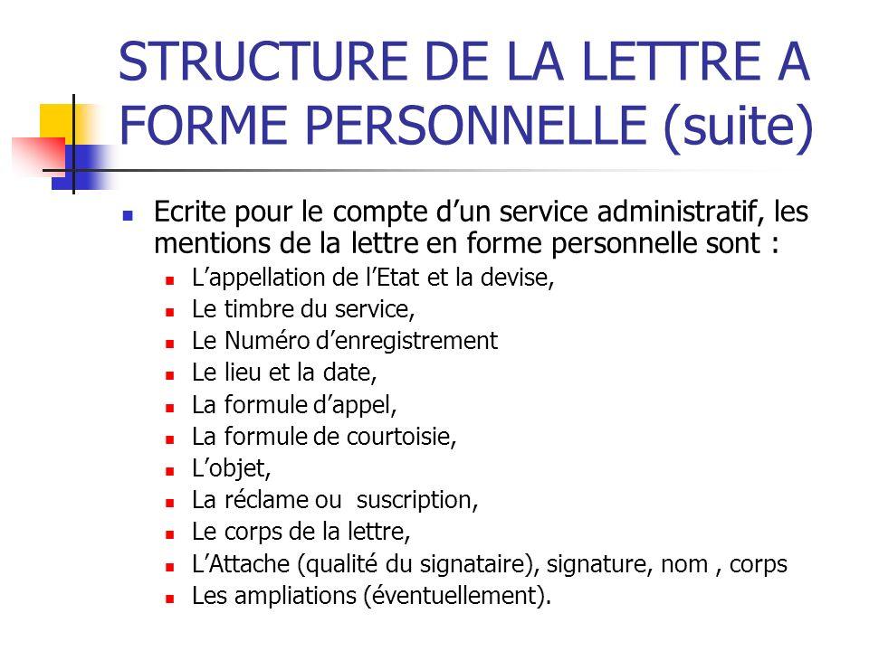 STRUCTURE DE LA LETTRE A FORME PERSONNELLE (suite) Ecrite pour le compte dun service administratif, les mentions de la lettre en forme personnelle son