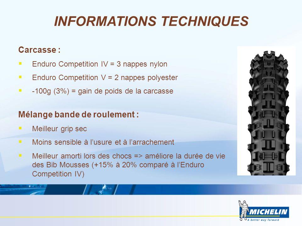 Carcasse : Enduro Competition IV = 3 nappes nylon Enduro Competition V = 2 nappes polyester -100g (3%) = gain de poids de la carcasse Mélange bande de