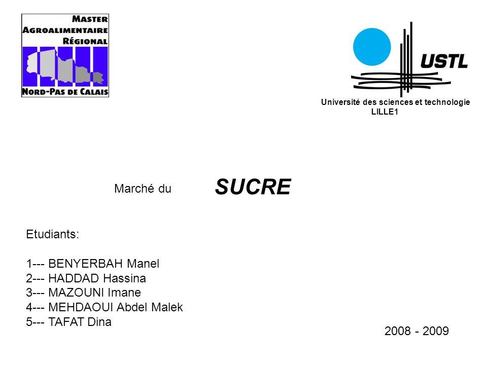 Université des sciences et technologie LILLE1 Marché du SUCRE Etudiants: 1--- BENYERBAH Manel 2--- HADDAD Hassina 3--- MAZOUNI Imane 4--- MEHDAOUI Abd