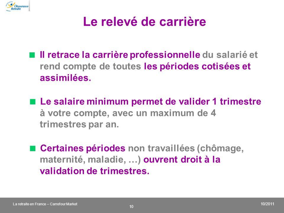 v 10 10/2011 La retraite en France – Carrefour Market Le relevé de carrière Il retrace la carrière professionnelle du salarié et rend compte de toutes