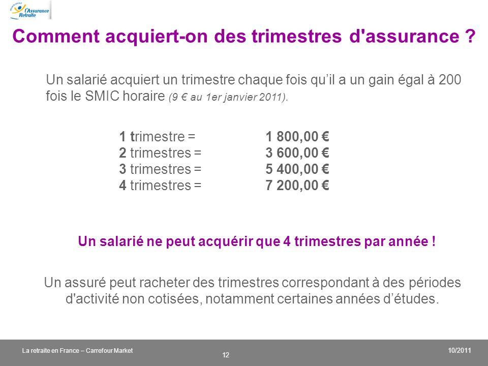 v 12 10/2011 La retraite en France – Carrefour Market Comment acquiert-on des trimestres d'assurance ? Un assuré peut racheter des trimestres correspo
