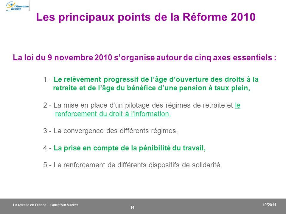 v 14 10/2011 La retraite en France – Carrefour Market Les principaux points de la Réforme 2010 La loi du 9 novembre 2010 sorganise autour de cinq axes