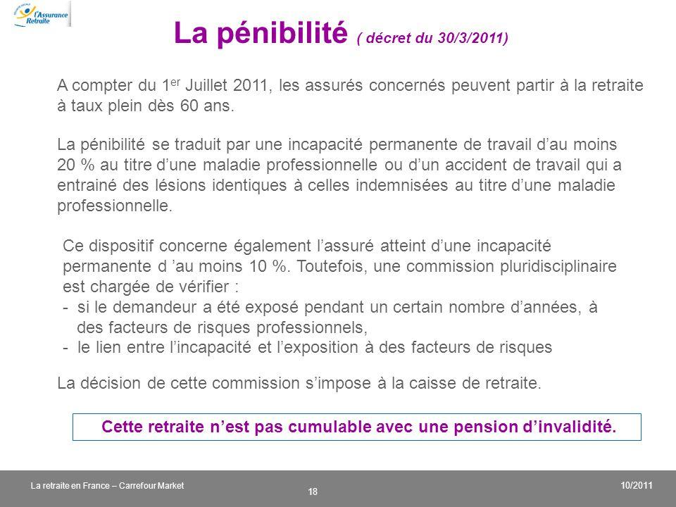 v 18 10/2011 La retraite en France – Carrefour Market La pénibilité ( décret du 30/3/2011) Cette retraite nest pas cumulable avec une pension dinvalid