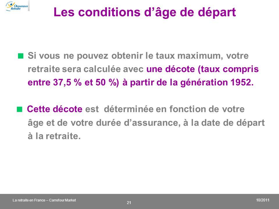 v 21 10/2011 La retraite en France – Carrefour Market Les conditions dâge de départ Si vous ne pouvez obtenir le taux maximum, votre retraite sera cal