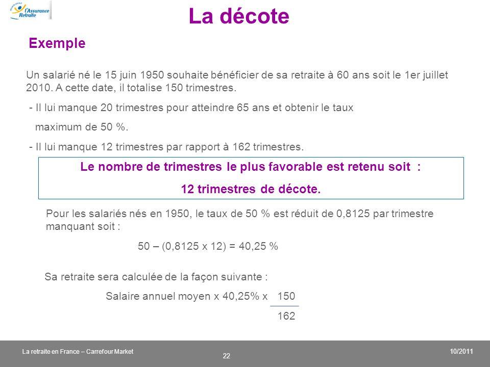 v 22 10/2011 La retraite en France – Carrefour Market Un salarié né le 15 juin 1950 souhaite bénéficier de sa retraite à 60 ans soit le 1er juillet 20
