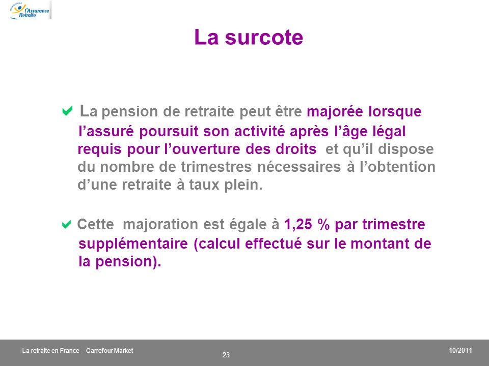 v 23 10/2011 La retraite en France – Carrefour Market La surcote L a pension de retraite peut être majorée lorsque lassuré poursuit son activité après