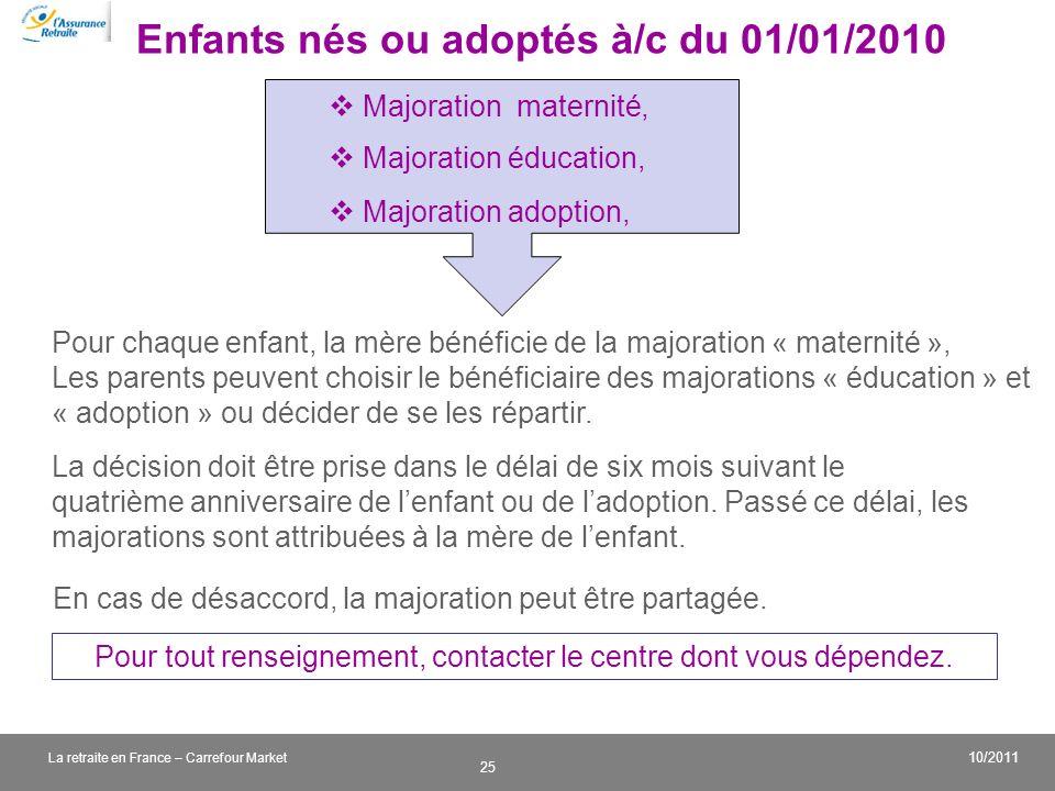 v 25 10/2011 La retraite en France – Carrefour Market Enfants nés ou adoptés à/c du 01/01/2010 Majoration maternité, Majoration éducation, Majoration