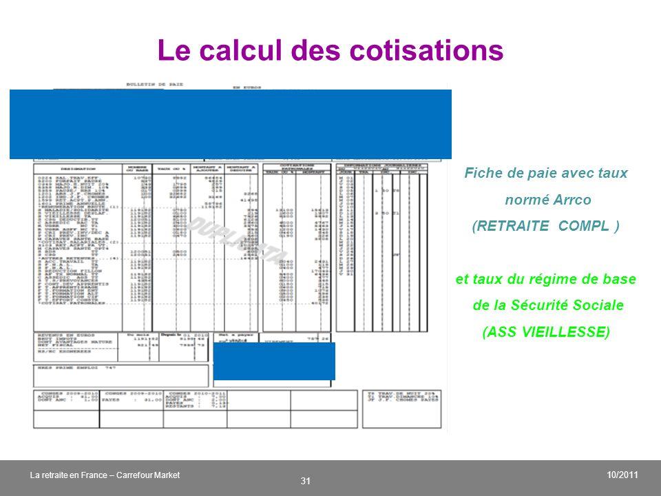 v 31 10/2011 La retraite en France – Carrefour Market Le calcul des cotisations Fiche de paie avec taux normé Arrco (RETRAITE COMPL ) et taux du régim