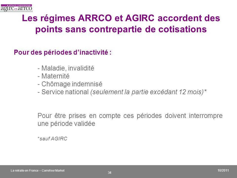 v 34 10/2011 La retraite en France – Carrefour Market Les régimes ARRCO et AGIRC accordent des points sans contrepartie de cotisations Pour des périod