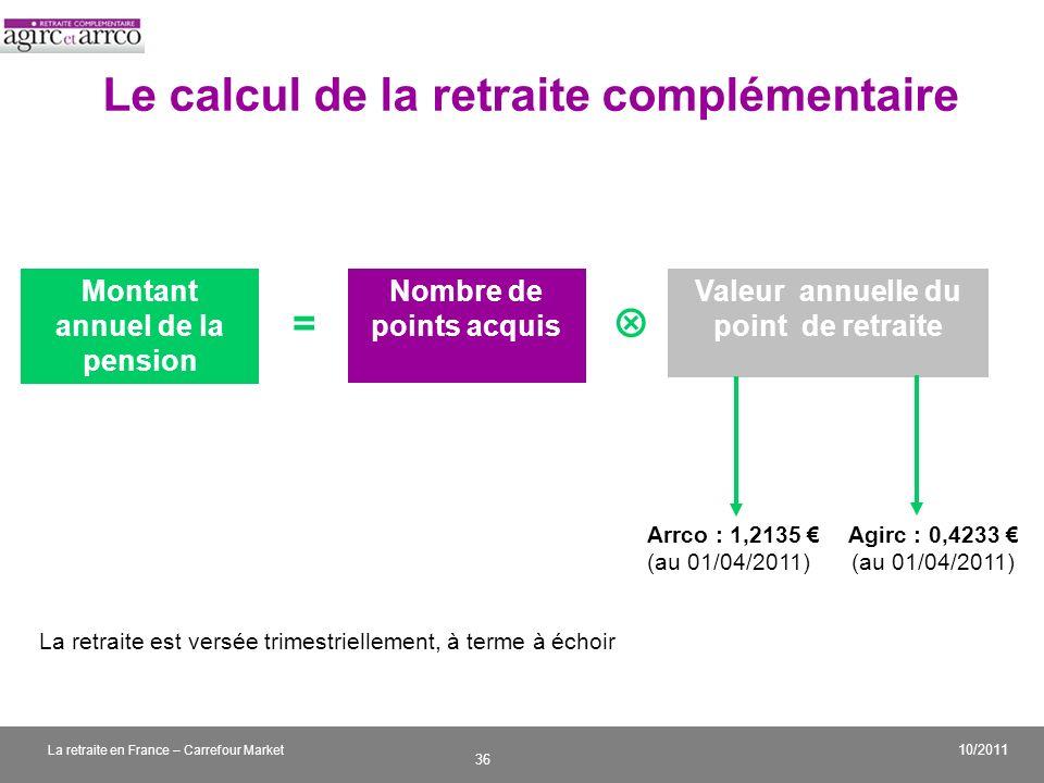 v 36 10/2011 La retraite en France – Carrefour Market Le calcul de la retraite complémentaire Montant annuel de la pension Nombre de points acquis Val