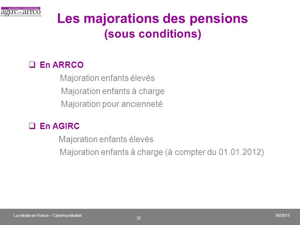 v 37 10/2011 La retraite en France – Carrefour Market Les majorations des pensions (sous conditions) En ARRCO Majoration enfants élevés Majoration enf