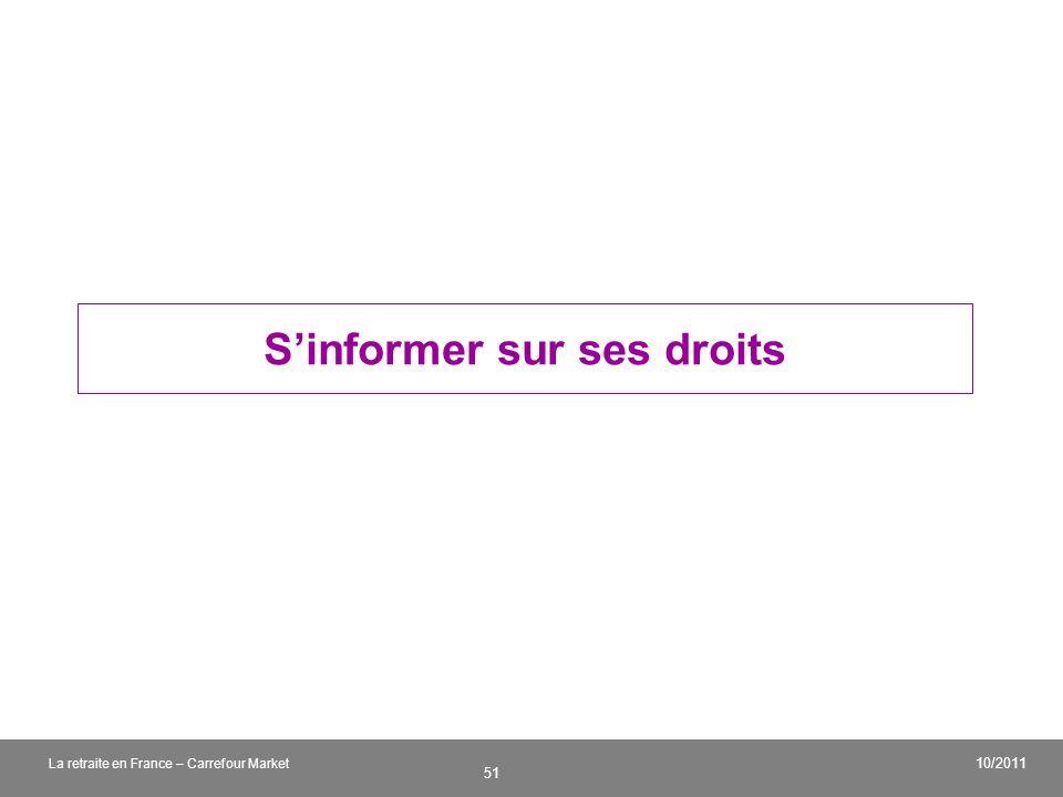 v 51 10/2011 La retraite en France – Carrefour Market Sinformer sur ses droits