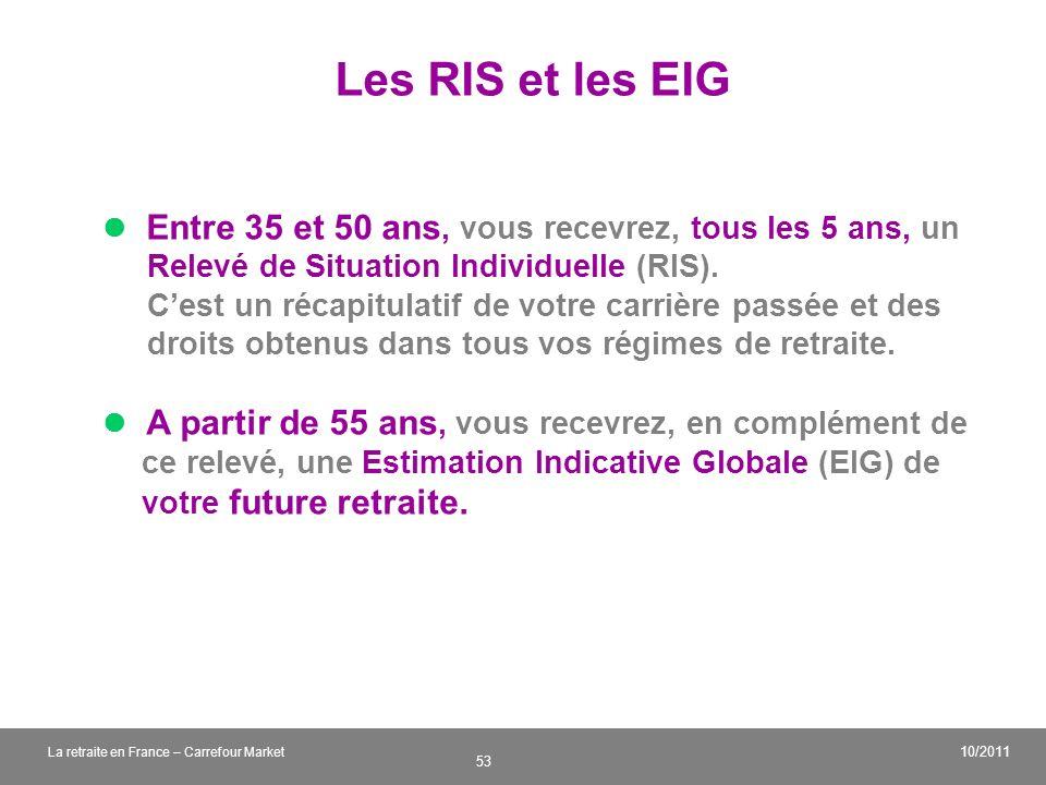 v 53 10/2011 La retraite en France – Carrefour Market Les RIS et les EIG Entre 35 et 50 ans, vous recevrez, tous les 5 ans, un Relevé de Situation Ind