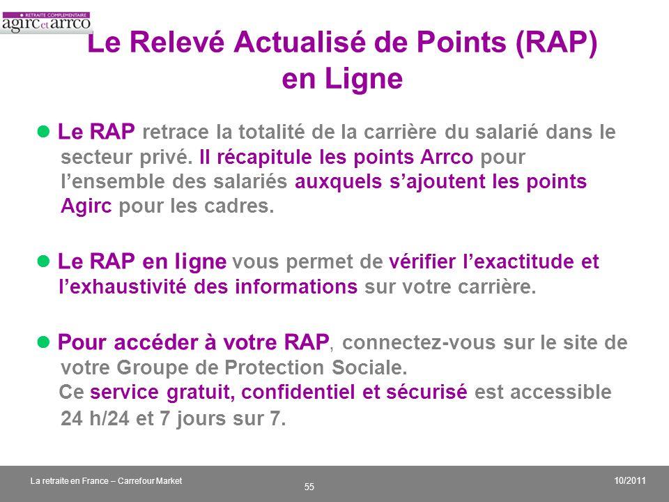 v 55 10/2011 La retraite en France – Carrefour Market Le Relevé Actualisé de Points (RAP) en Ligne Le RAP retrace la totalité de la carrière du salari