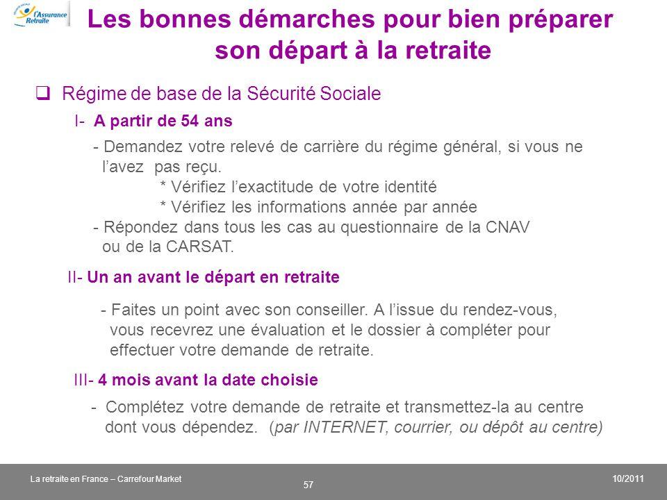 v 57 10/2011 La retraite en France – Carrefour Market Les bonnes démarches pour bien préparer son départ à la retraite I- A partir de 54 ans - Demande