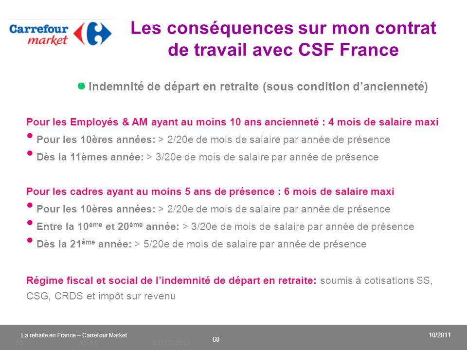 v 60 10/2011 La retraite en France – Carrefour Market 22/12/2013TITRE60 Indemnité de départ en retraite (sous condition dancienneté) Les conséquences
