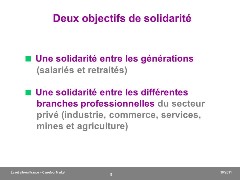 v 8 10/2011 La retraite en France – Carrefour Market Deux objectifs de solidarité Une solidarité entre les générations (salariés et retraités) Une sol