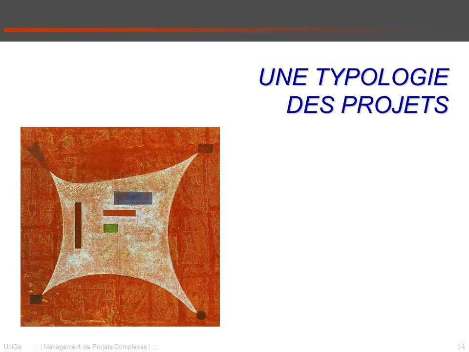 14 UniGe :::   Management de Projets Complexes   ::: UNE TYPOLOGIE DES PROJETS