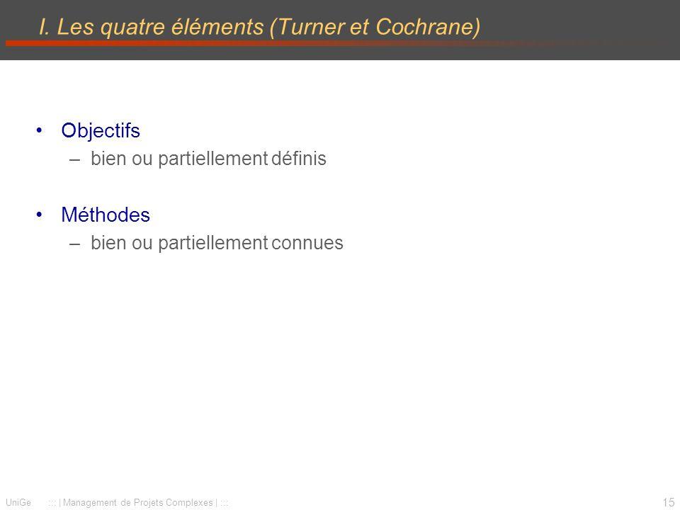 15 UniGe ::: | Management de Projets Complexes | ::: I. Les quatre éléments (Turner et Cochrane) Objectifs –bien ou partiellement définis Méthodes –bi
