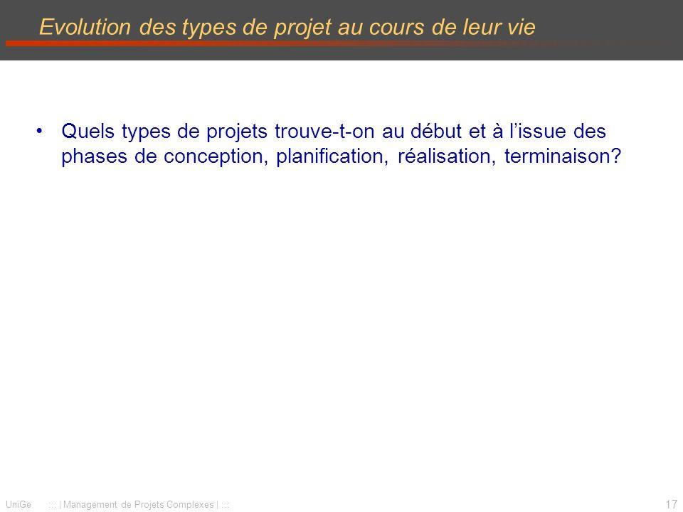 17 UniGe ::: | Management de Projets Complexes | ::: Evolution des types de projet au cours de leur vie Quels types de projets trouve-t-on au début et