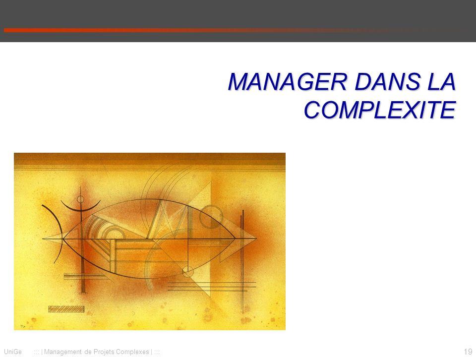 19 UniGe :::   Management de Projets Complexes   ::: MANAGER DANS LA COMPLEXITE