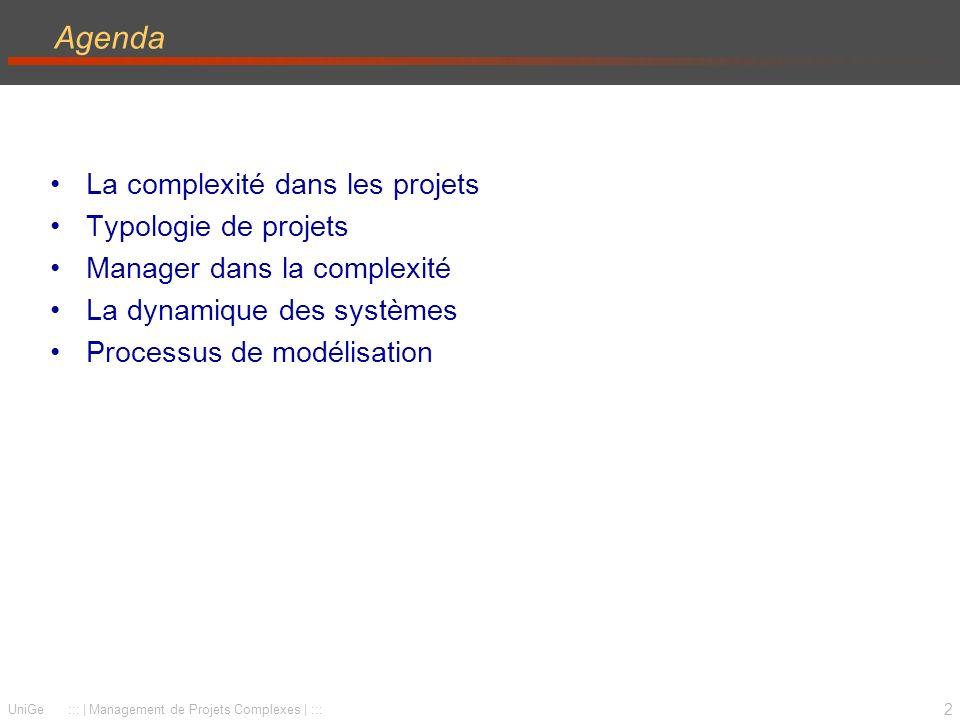 2 UniGe :::   Management de Projets Complexes   ::: Agenda La complexité dans les projets Typologie de projets Manager dans la complexité La dynamique des systèmes Processus de modélisation