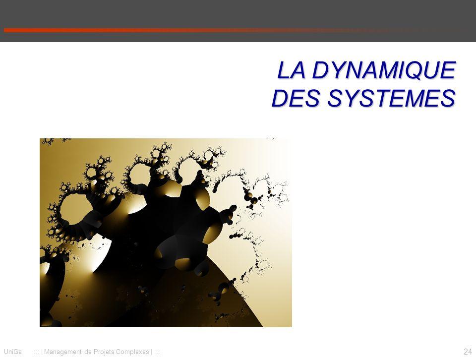 24 UniGe :::   Management de Projets Complexes   ::: LA DYNAMIQUE DES SYSTEMES