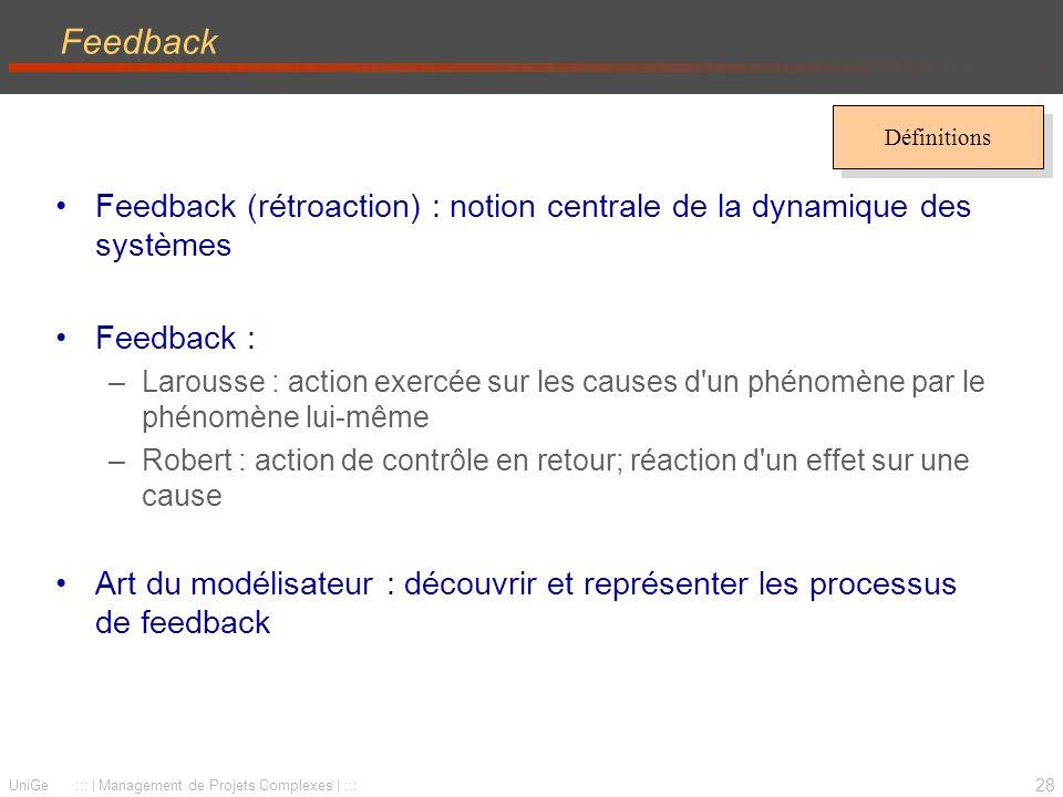 28 UniGe ::: | Management de Projets Complexes | ::: Feedback Feedback (rétroaction) : notion centrale de la dynamique des systèmes Feedback : –Larous