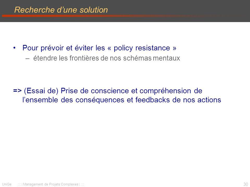 30 UniGe ::: | Management de Projets Complexes | ::: Recherche dune solution Pour prévoir et éviter les « policy resistance » –étendre les frontières