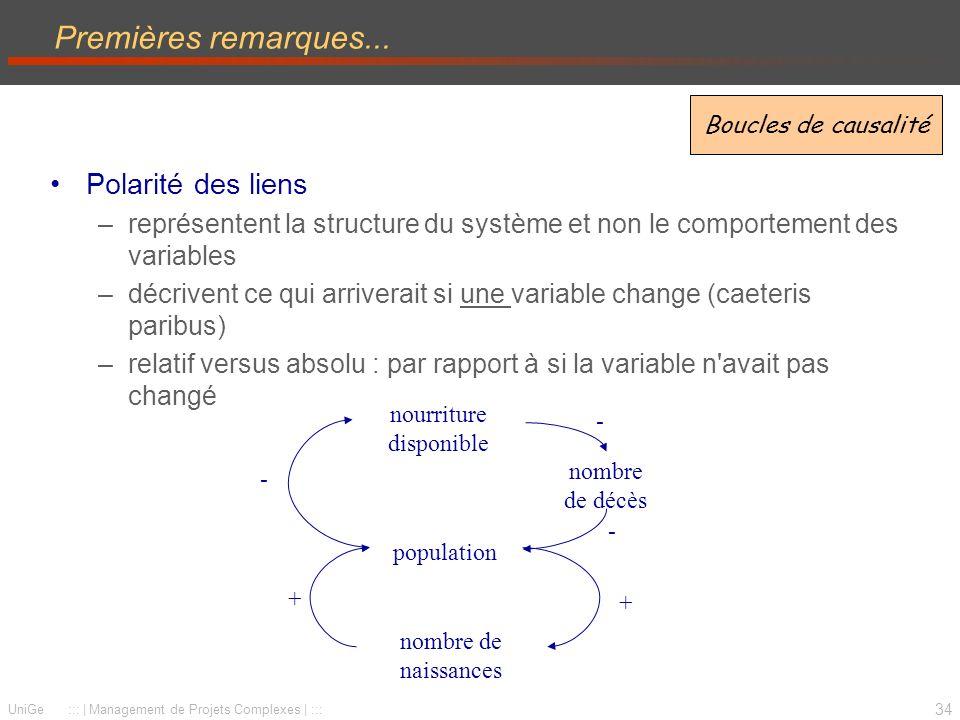 34 UniGe ::: | Management de Projets Complexes | ::: Premières remarques... Polarité des liens –représentent la structure du système et non le comport