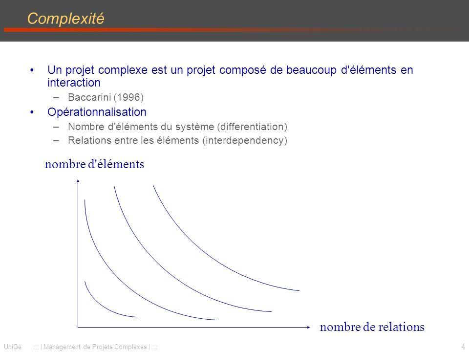 4 UniGe :::   Management de Projets Complexes   ::: Complexité Un projet complexe est un projet composé de beaucoup d éléments en interaction –Baccarini (1996) Opérationnalisation –Nombre d éléments du système (differentiation) –Relations entre les éléments (interdependency) nombre de relations nombre d éléments