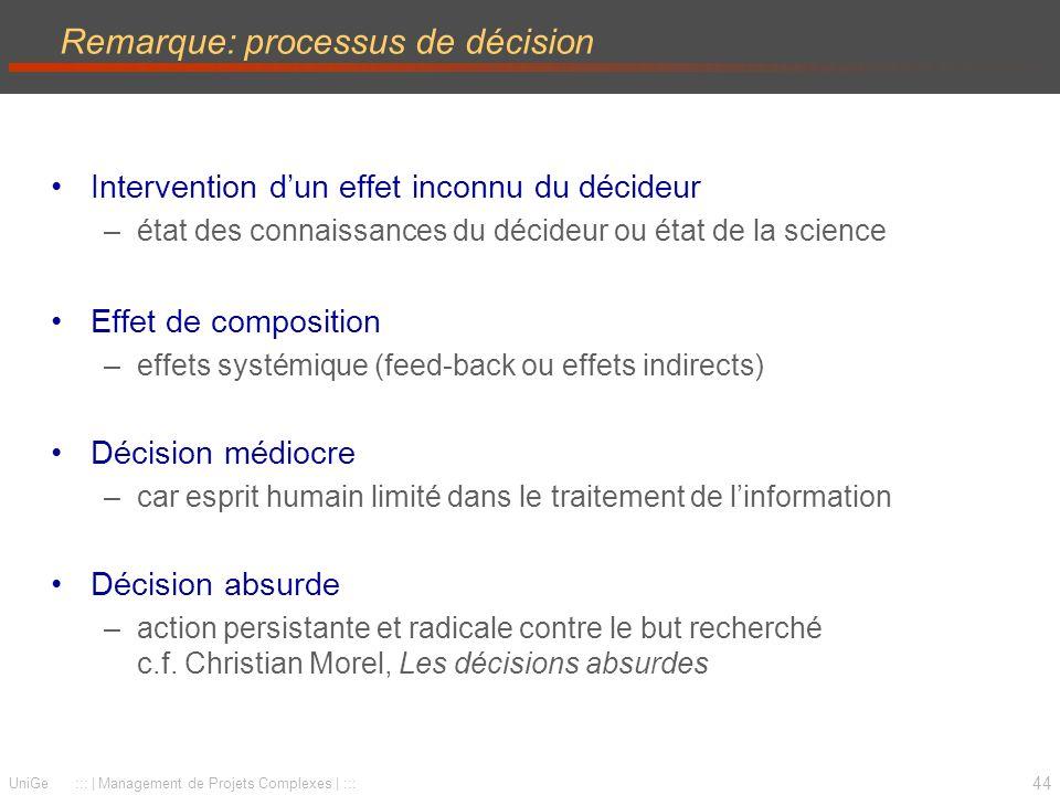 44 UniGe ::: | Management de Projets Complexes | ::: Remarque: processus de décision Intervention dun effet inconnu du décideur –état des connaissance