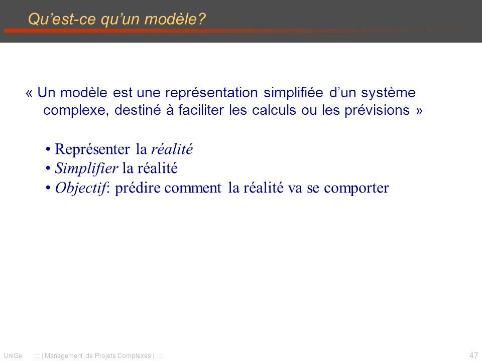 47 UniGe ::: | Management de Projets Complexes | ::: Quest-ce quun modèle? « Un modèle est une représentation simplifiée dun système complexe, destiné