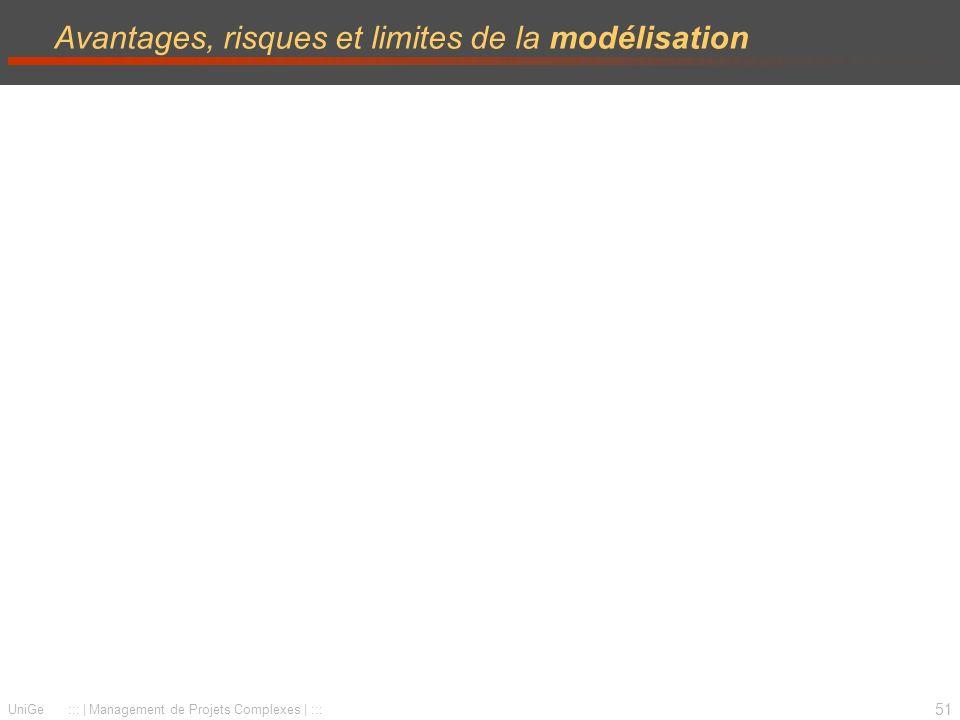 51 UniGe :::   Management de Projets Complexes   ::: Avantages, risques et limites de la modélisation