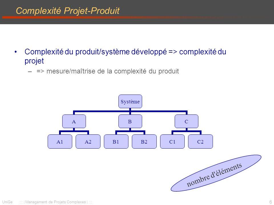6 UniGe :::   Management de Projets Complexes   ::: Complexité Projet-Produit Complexité du produit/système développé => complexité du projet –=> mesure/maîtrise de la complexité du produit Système A A1A2 B B1B2 C C1C2 nombre d éléments