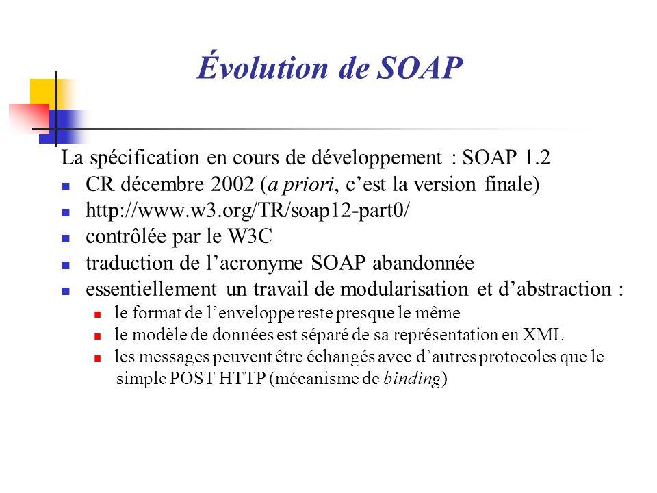 La spécification en cours de développement : SOAP 1.2 CR décembre 2002 (a priori, cest la version finale) http://www.w3.org/TR/soap12-part0/ contrôlée