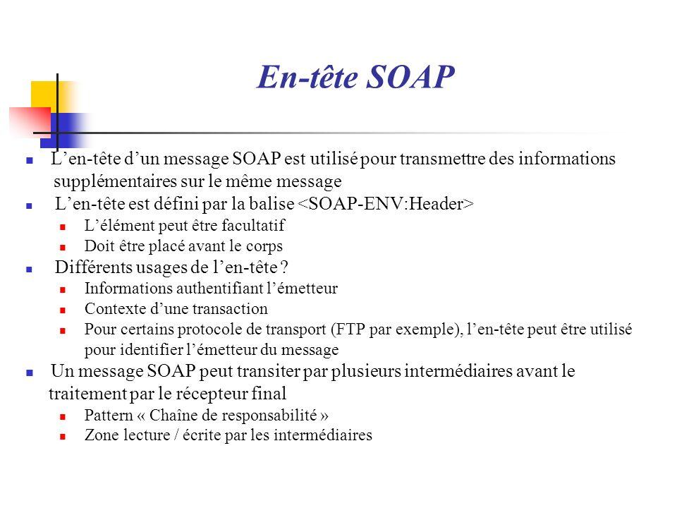 En-tête SOAP Len-tête dun message SOAP est utilisé pour transmettre des informations supplémentaires sur le même message Len-tête est défini par la ba
