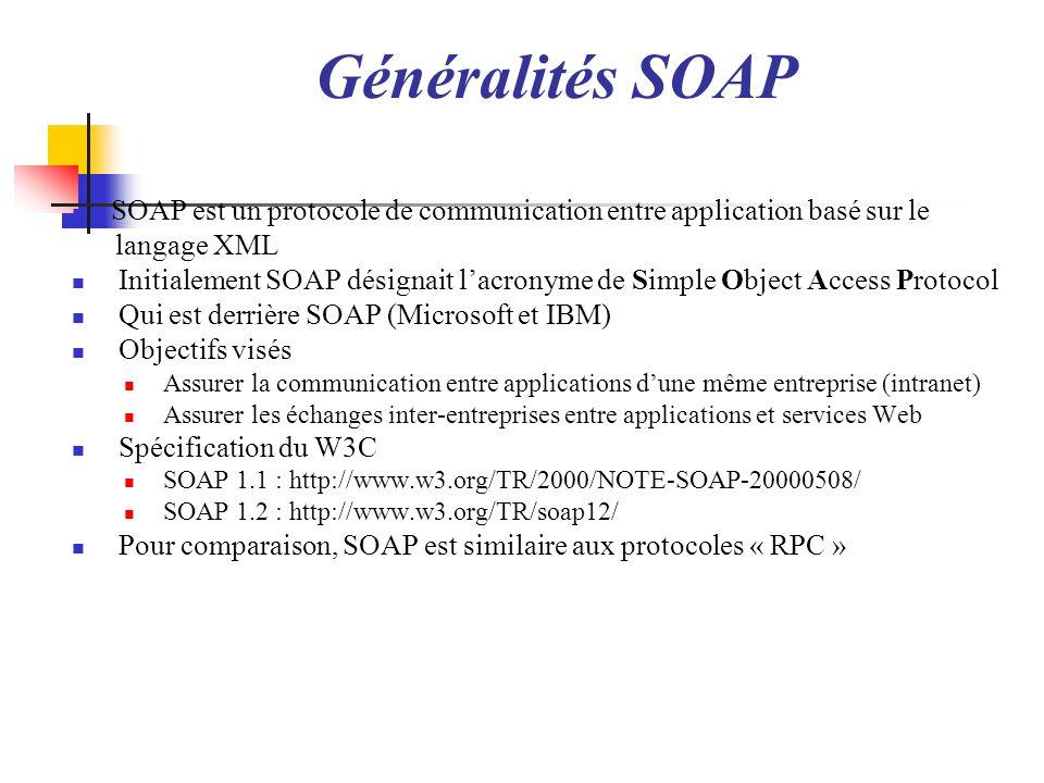SOAP transporté par HTTP Requête SOAP HTTP Méthode de type POST Nécessite un attribut SOAPAction Réponse SOAP HTTP Exploite les codes retours HTTP Si code de type 2xx, message SOAP reçu Si code 500, message en erreur, le corps SOAP doit contenir fault POST http://localhost:8080/NotebookWebService/notebook HTTP/1.1 Content-Type: text/xml;charset=UTF-8 SOAPAction: User-Agent: Jakarta Commons-HttpClient/3.1 Host: localhost:8080 Content-Length: 459 <soapenv:Envelope xmlns:soapenv= http://schemas.xmlsoap.org/soap/envelope/ xmlns:not= http://notebookwebservice.lisi.ensma.fr/ > Poitiers 17081976 BARON Mickael HTTP/1.1 200 OK Server: Apache-Coyote/1.1 Content-Type: text/xml;charset=utf-8 Transfer-Encoding: chunked Date: Sun, 13 Dec 2009 12:00:33 GMT <soapenv:Envelope xmlns:S= http://schemas.xmlsoap.org/soap/envelope/ > <ns2:addPersonWithComplexTypeResponse xmlns:ns2= http://notebookwebservice.lisi.ensma.fr/ > true