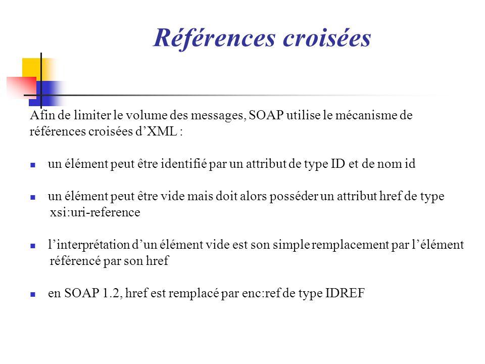 Références croisées Afin de limiter le volume des messages, SOAP utilise le mécanisme de références croisées dXML : un élément peut être identifié par