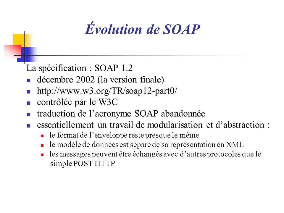 La spécification : SOAP 1.2 décembre 2002 (la version finale) http://www.w3.org/TR/soap12-part0/ contrôlée par le W3C traduction de lacronyme SOAP aba
