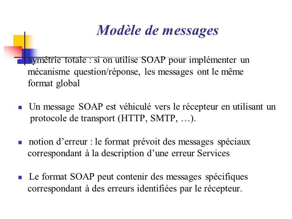 Modèle de messages symétrie totale : si on utilise SOAP pour implémenter un mécanisme question/réponse, les messages ont le même format global Un mess