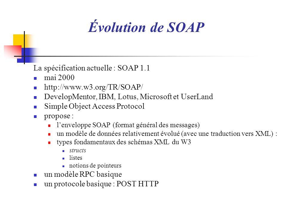 Lenveloppe SOAP : Représentation XML espace de noms XML : http://schemas.xmlsoap.org/soap/envelope/ (préfixe classique env) élément racine : env:Envelope en-tête : env:Header corps : env:Body Rappel : XML est case-sensitive forme générale : 2 <env:Envelope 3 xmlns:env== http://schemas.xmlsoap.org/soap/envelope/ > 4 5 6 7 8 9 10 template.xml