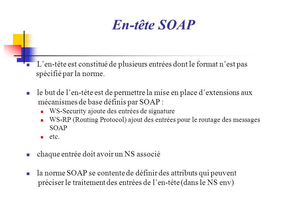 En-tête SOAP Len-tête est constitué de plusieurs entrées dont le format nest pas spécifié par la norme. le but de len-tête est de permettre la mise en